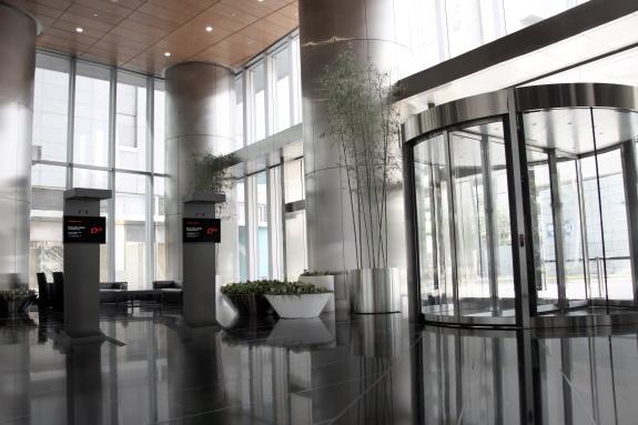 A modern lobby for an ultra-modern company.